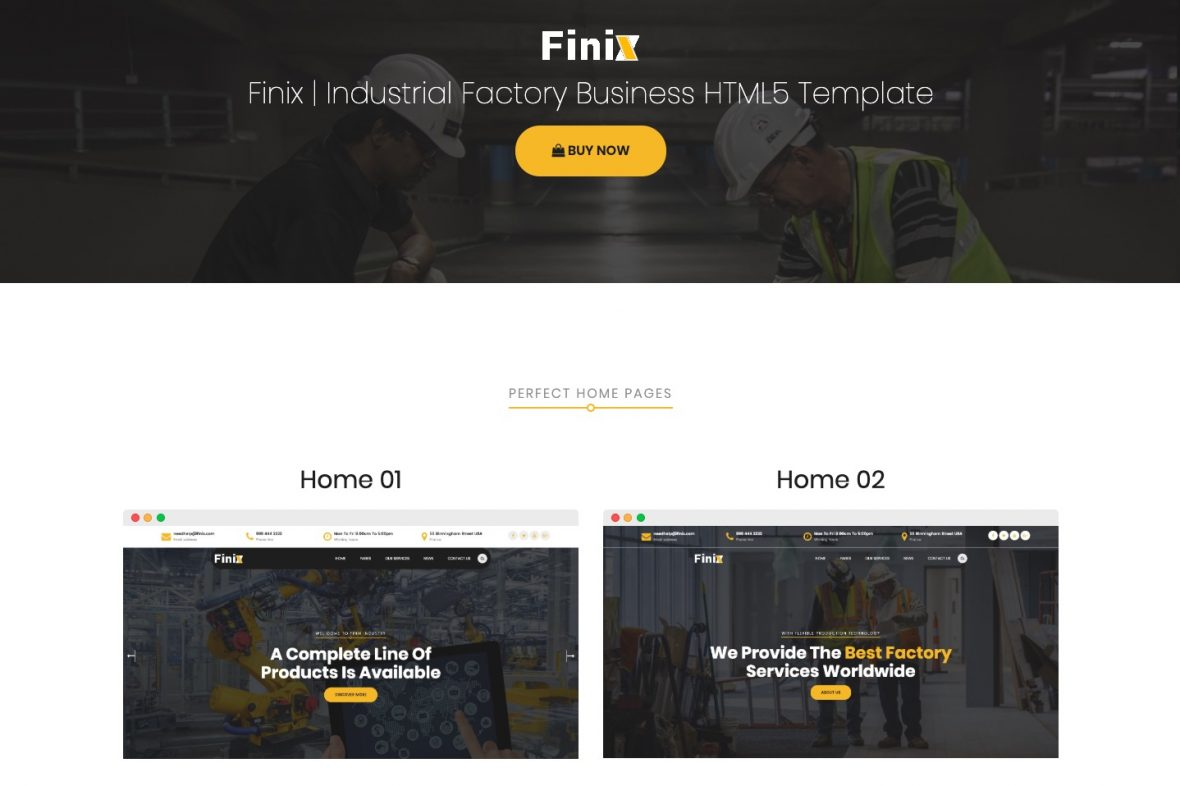 Finix - Industrial & Construction HTML Template