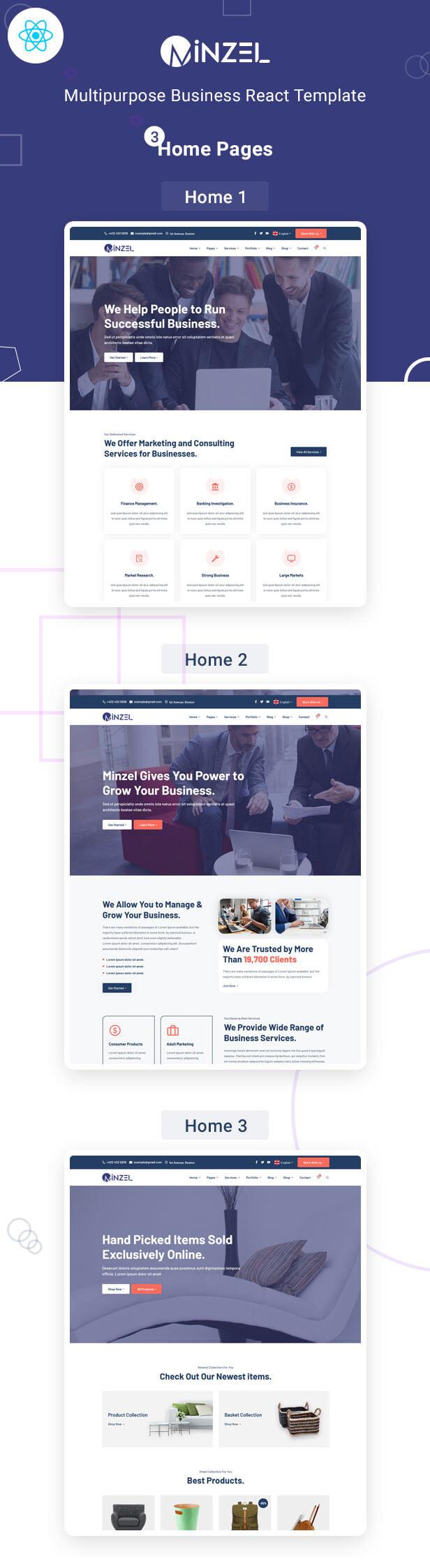 Minzel - Multipurpose React Template For Modern Business