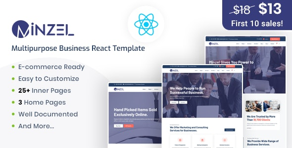 Minzel - Multipurpose React Template For Modern Business